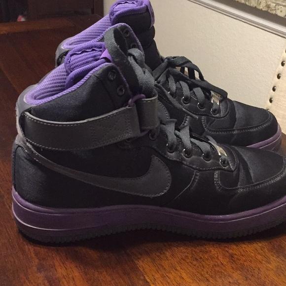 Nike Air Force 1 Womens Black Satin Purple | SneakerFiles